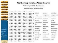Wuthering Heights Word Search Worksheet