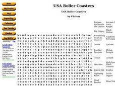USA Roller Coasters Worksheet
