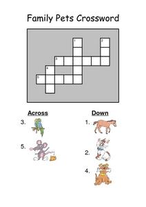Family Pets Picture Based Crossword Puzzle Worksheet
