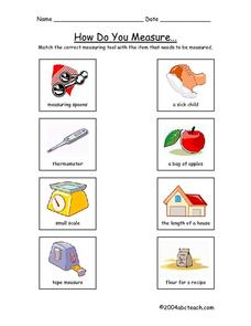 How Do You Measure? Matching Worksheet