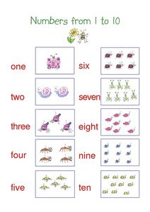 Number form 1 to 10 Worksheet