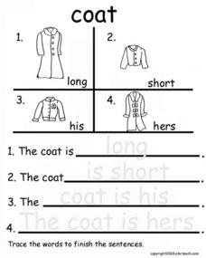 Coat Adjectives Worksheet