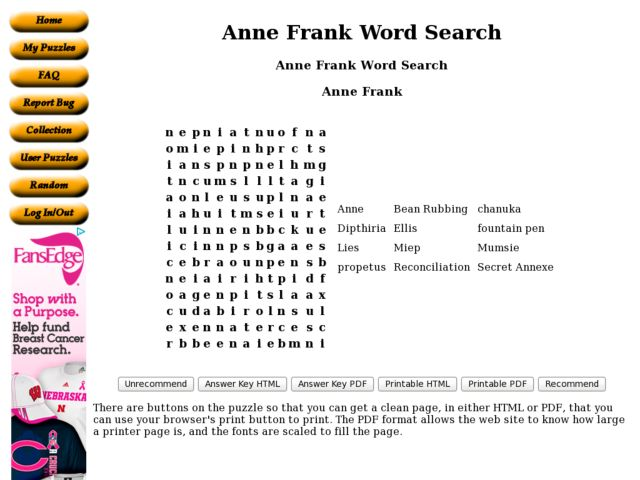 Anne Frank Word Search 6th 8th Grade Worksheet – Anne Frank Worksheets
