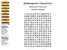 Shakespeare Characters Worksheet