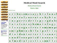 Medical Word Search Worksheet