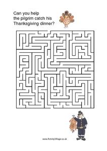 Can You Help the Pilgrim Catch His Thanksgiving Dinner? Worksheet