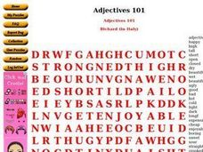 Adjectives 101 - Word Search Worksheet