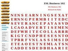 ESL: Business Vocabulary Word Search Worksheet