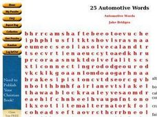 Automotive Words Worksheet