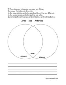Compare the Arctic with Antarctica Venn Diagram Worksheet