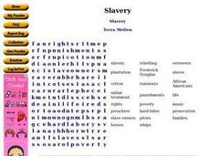 Slavery:  Word Search Worksheet