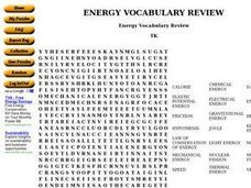 Energy Vocabulary Review Worksheet