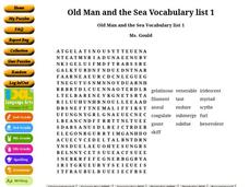 Old Man and the Sea  Vocabulary list 1 Worksheet