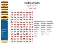 Spelling Choice Worksheet