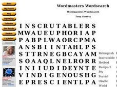 Wordmasters Wordsearch Worksheet