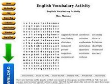 English Vocabulary Activity Worksheet