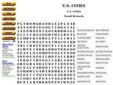 US Cities Worksheet