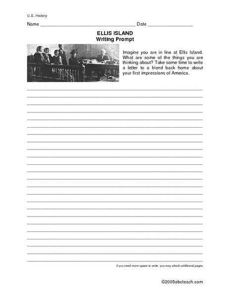 Ellis Island Writing Prompt 4th - 5th Grade Worksheet | Lesson Planet
