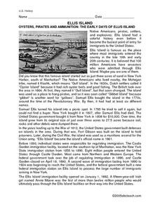 ELLIS ISLAND: THE EARLY DAYS 6th - 7th Grade Worksheet | Lesson Planet