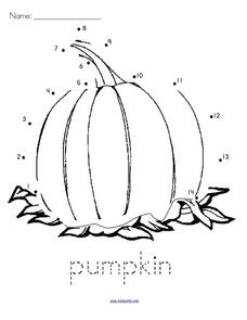 Pumpkin Dot-to-Dot Worksheet