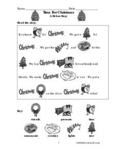 Time for Christmas: a Rebus Story Worksheet