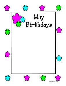 May Birthdays Worksheet