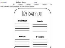 Dr. Seuss Inspired Menu Worksheet