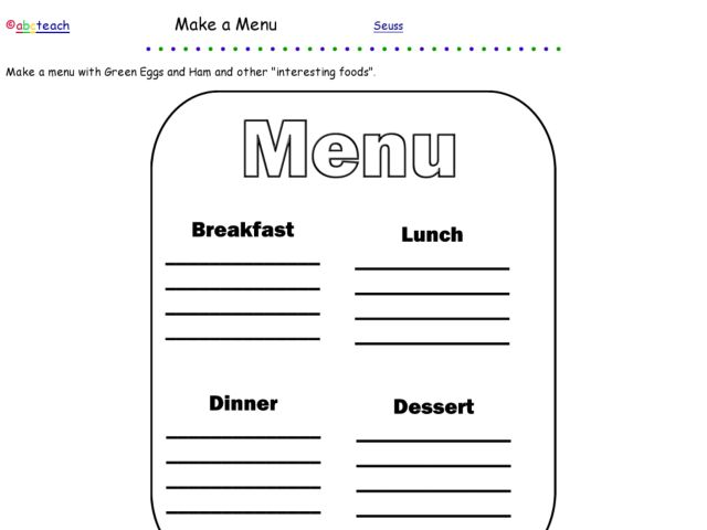 Menu Reading Lesson Plans & Worksheets Reviewed by Teachers