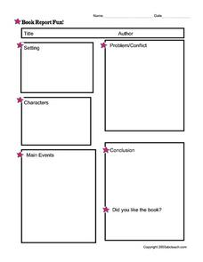 Book Report Fun- Blank Report Grid Worksheet