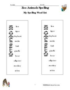 Zoo Animals Spelling Worksheet