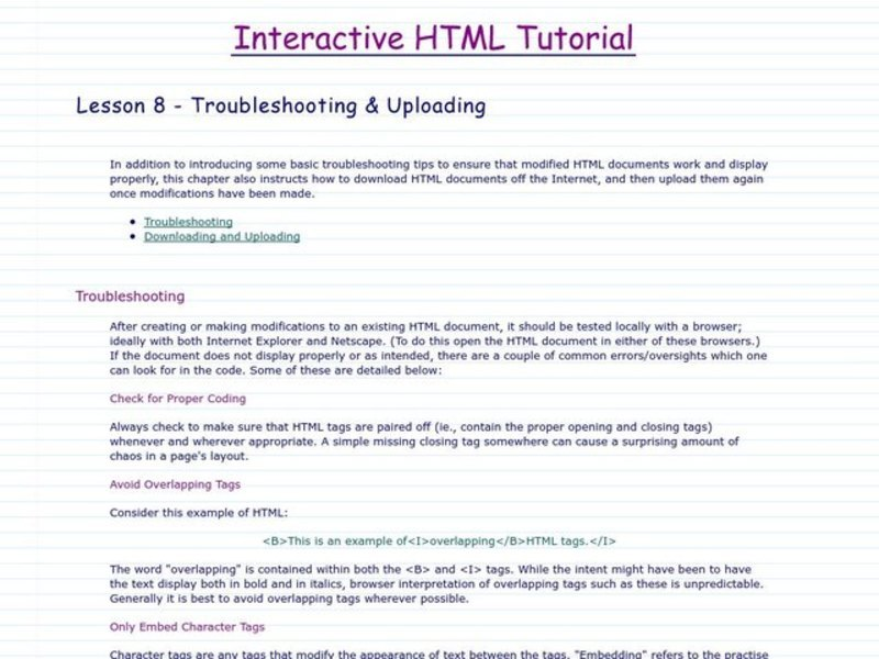 Interactive HTML Tutorial: Troubleshooting and Uploading