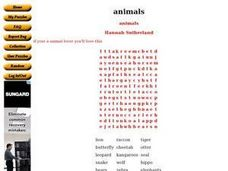 Animal Word Search by Hannah Sutherland Worksheet