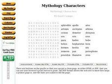 Mythology Characters Worksheet