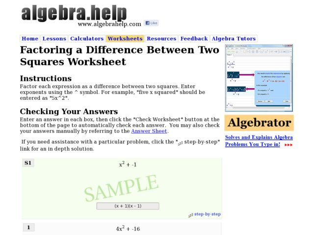 Factoring A Difference Between Two Squares Worksheet