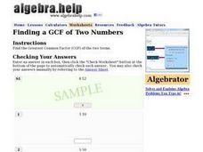 Finding a GCF of Two Numbers Worksheet
