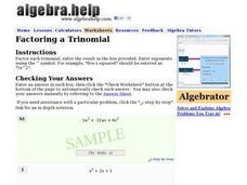 Factoring a Trinomial Worksheet