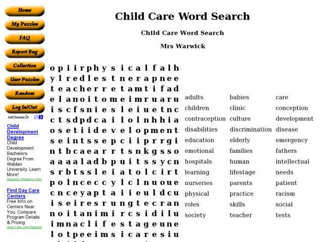 Child Care Word Search 6th - 8th Grade Worksheet | Lesson Planet