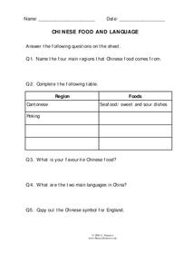 Chinese Food and Language Worksheet