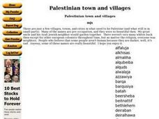 Palestinian town and villages Worksheet