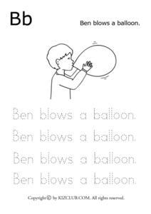 Bb - Ben Blows a Balloon Lesson Plan