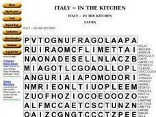 Italy ~ in the Kitchen Worksheet