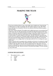 Softball Team Worksheet