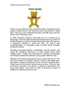 Teddy Bear Reading Comprehension/ History Worksheet