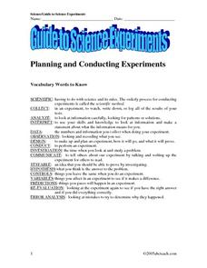 Guide To Science Experiments Worksheet