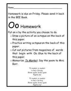 The Letter O Homework Worksheet