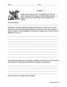Dragons: Read and Brainstorm a Habitat Worksheet