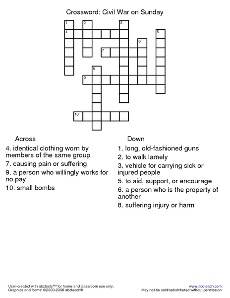 photograph about Sunday Crossword Printable named Civil War upon Sunday Crossword Worksheet for 2nd - 3rd Quality