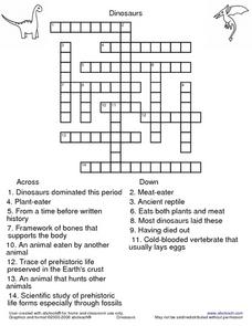 Dinosaurs Crossword- Medium Difficulty Worksheet