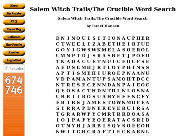 Salem Witch TrailsThe Crucible Word Search 10th Higher Ed – The Crucible Worksheets
