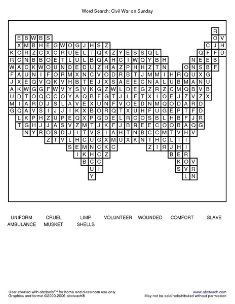 Word Search Civil War On Sunday Worksheet For 2nd 3rd